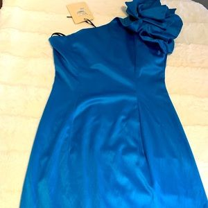 Blue One Shoulder Ruffle Cocktail Party Dress